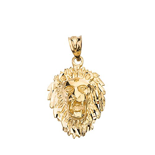 (Leo Zodiac Sign Charm Roaring Lion Head Pendant (10k Yellow-Gold))