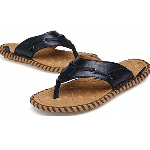 Pinuo Mens Sommar Varumärke Trend Sandalshäftklammermatare Nya 2016 Äkta Läder Plattform Strand Sandal Svart