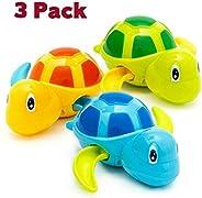 HEMRLY Baby Bath Toys,Baby Bathtub Wind Up Turtle Toys, Cute Fun Multi Colors Floating Bath Animal Toys for Ki