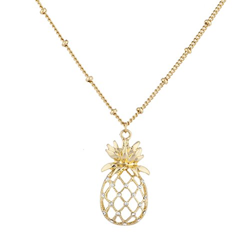 Lux Accessories Gold Tone Cutout Tropical Fruit Pineapple Pendant Necklace (Out Gold Tone Cut)