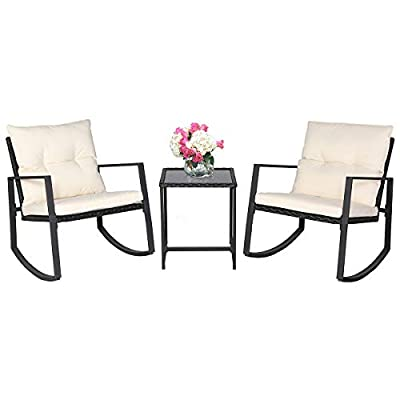 SUNCROWN Outdoor 3-Piece Rocking Wicker Bistro Set: Wicker Furniture - Two Chairs with Glass Coffee Table by SUNCROWN
