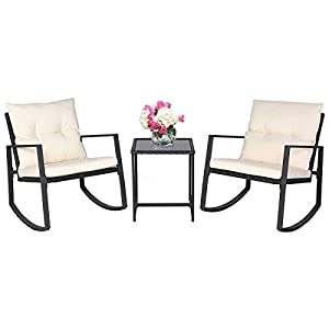 SUNCROWN Outdoor 3-Piece Rocking Wicker Bistro Set: Black Wicker Furniture - Two Chairs with Glass Coffee Table (Beige-White Cushion) 5