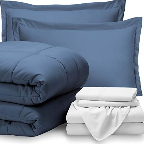Hemau Bed-in-A-Bag 7 Piece Comforter & Sheet Set - Full Extra Long Ultra-Soft 1800 Premium - Hypoallergenic - Bare Breathable Bedding (Full XL, Coronet Blue/White) | Style 503193422 -