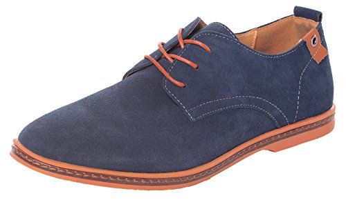 Serene Men's Casual Leather Lace Up Soft Breathable Fashion Oxfords (7D(M)US, blue)