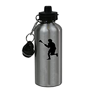 Personalized Custom Lacrosse, Lax Player Aluminum Silver Finish 20 Ounce Water Bottle Customizable