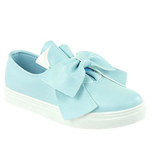 Angkorly Women's Fashion Shoes Trainers - Tennis - slip-on - knot - node - grained flat heel 2.5 CM Blue gGX9rN2C7