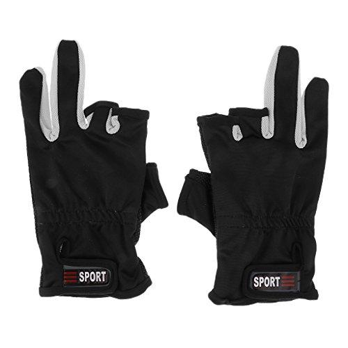 週末ウィザードシリングノーブランド品 滑り止め 3ローカット フィンガー サイクリング 釣り グローブ 手袋 全5色選ぶ - ブラック