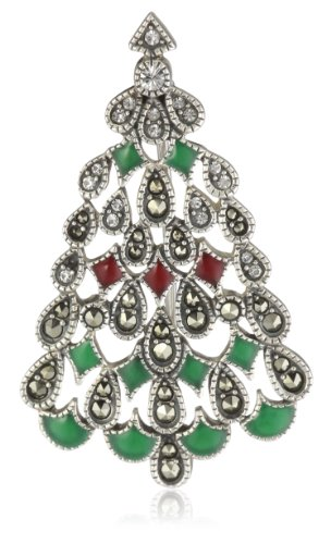 "Judith Jack ""Winter Sparkle"" Sterling Silver, Marcasite and Enamel Giftable Christmas Tree Brooch"