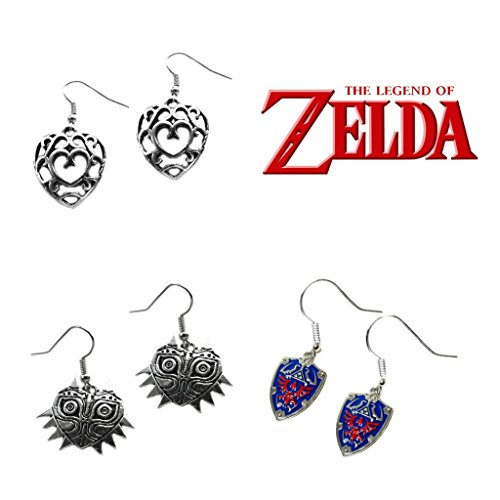 The Legend of Zelda Majoras Mask & Shield & Crystal Hearts (3-Pair Assortment) Cute Girl Dangle Earrings By Athena