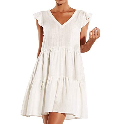 PENGYGY Women Sleeveless Dress Summer Fashion Skirt Ladies Casual Ruffled Hanging Dress White