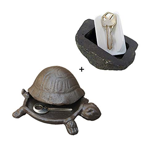 Garden Stone Key (Cast Iron Turtle + Fake Rock for Hide a Spare Key - Looks & Feels Like Real Stone - Safe for Garden or Yard)