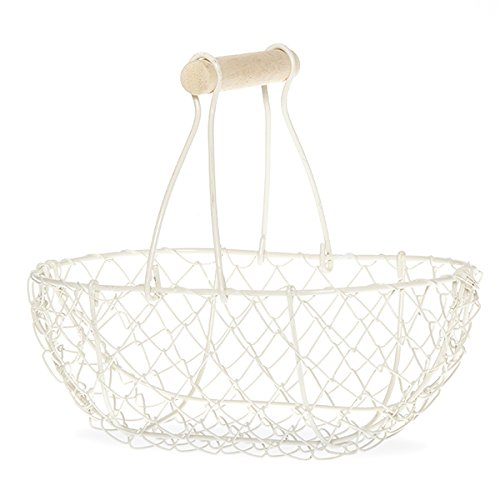 Wire Chicken Egg Basket, Wood Handle, Farm Style by EggBaskets (White)