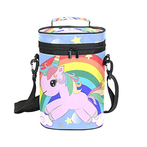 Insulated Wine Tote Carrier Unicorn On A Rainbow 2 Bottle Wine Carry Cooler Tote Bag for Travel or Picnic, Perfect Wine Lover Gift