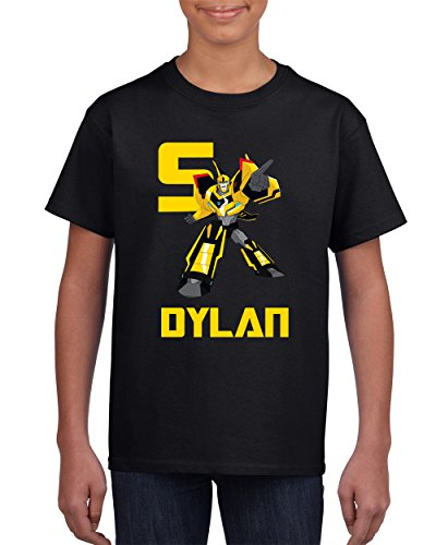 Wow! Custom Tees Transformers Bumblebee Boys T-Shirt - Personalize Name & Age … (Black, Youth - Transformer Black Name