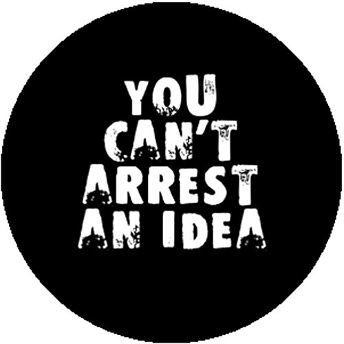 Black Badge Button Pin You Can't Arrest an Idea Punk Anarchist Socialist Occupy -