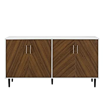 Walker Edison 58u0026quot; Modern Bookmatch Buffet   White And Teak
