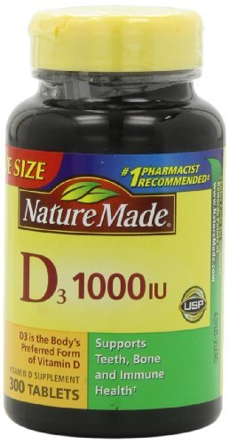Nature Made Vitamin D3 1000 IU Value Size 300-Count Tablets (2 pack) by Nature Made