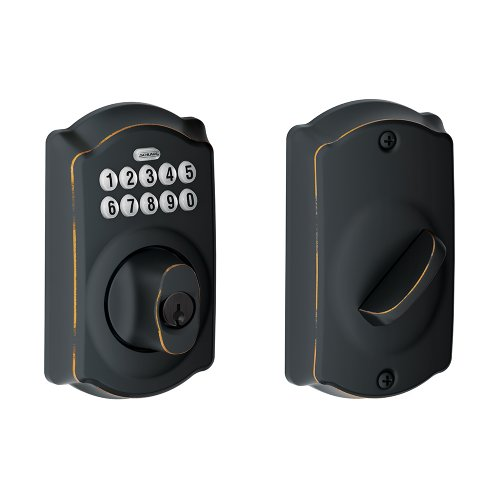 Schlage BE365VCAM716 Camelot Keypad Deadbolt, Aged Bronze - Schlage Keyless Door Locks