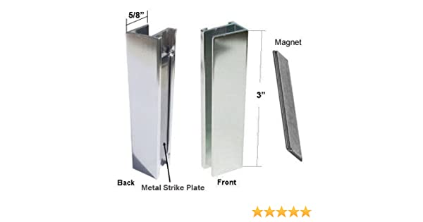 Shower Door U-Channel with Metal Strike Plate for 3/8