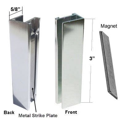 Shower Door U Channel With Metal Strike Plate For 38 And 516