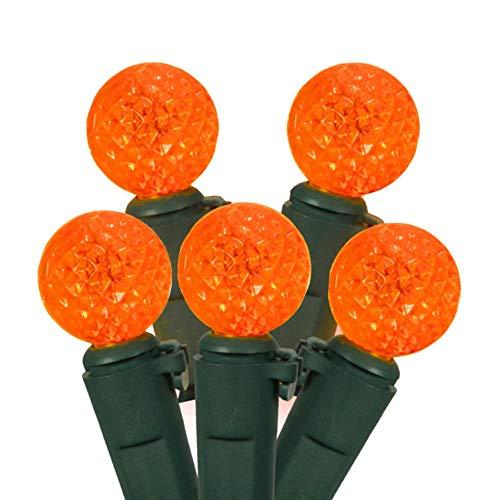 Vickerman Set of 50 Orange LED G12 Berry Fashion Glow Christmas Lights - Green Wire