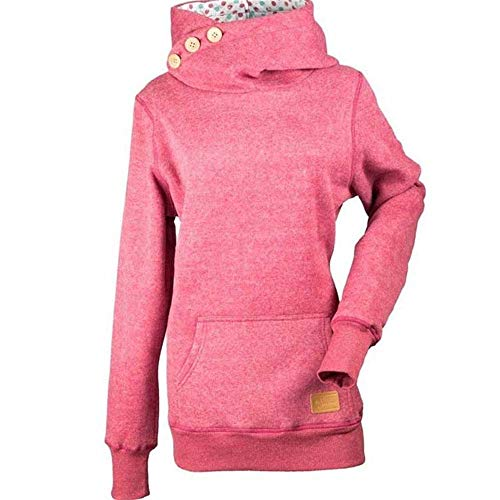 Soluo Women Long Sleeve Shirt Kangaroo Pocket Thin Sweatshirt Hoodie Casual Tops Sweatshirts (red,medium)