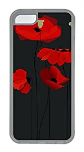 Brian114 iPhone 5C Case - Red Poppy 12 Soft Rubber Clear iPhone 5C Cover, iPhone 5C Cases, Cute iPhone 5c Case