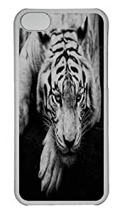 Dark Tiger Animal Grayscale Polycarbonate Hard Case Cover for iPhone 5/5S Transparent