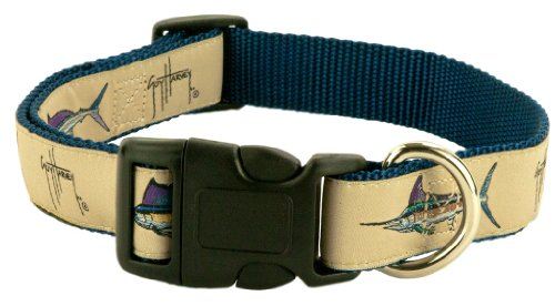 Guy Harvey Bull Dolphin - Guy Harvey Dog Collars (Khaki Grand Slam, Large)
