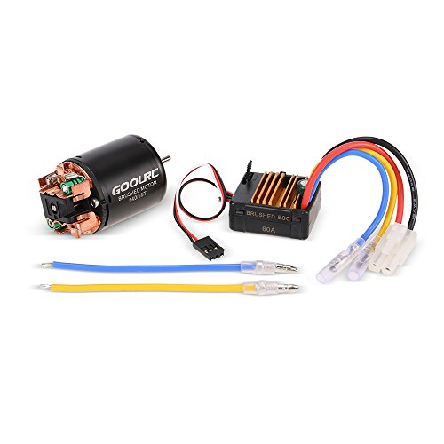 GoolRC 540 55T Brushed Motor with 60A ESC Combo for 1/10 Axial SCX10 RC4WD D90 RC Crawler Climbing Car (Motor Brushed 55t)