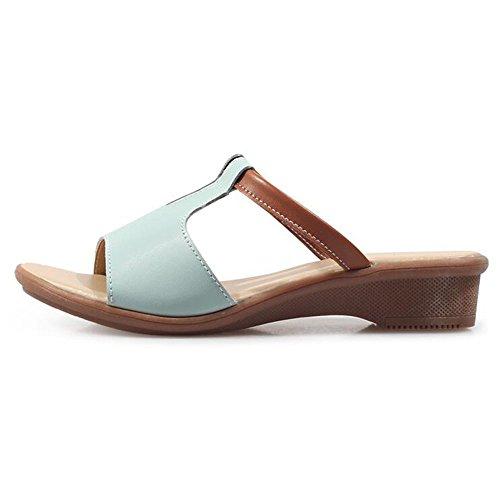 Verano Sandalias Zapatillas antideslizantes para damas Zapatillas para damas Zapatillas para mujeres de moda Sandalias planas Zapatillas de playa Zapatillas ligeras para mujeres Zapatillas de deporte Azul