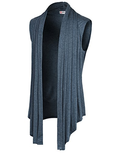 Price comparison product image H2H Mens Sleeveless Draped Open Front Shawl Collar Knitted Long Vest HEATHERNAVY US XL / Asia 2XL (CMOCASL01)