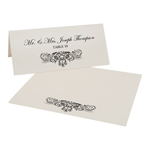 Vintage Frame Easy Print Place Cards, Champagne, Black, Set of 425 (107 Sheets) by Documents and Designs