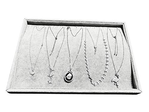 UPSTONE Ice Gray PlushVelvet Stackable Jewelry Display Trays Showcase Jewelry Organizer Storage Trays(Necklace Display)