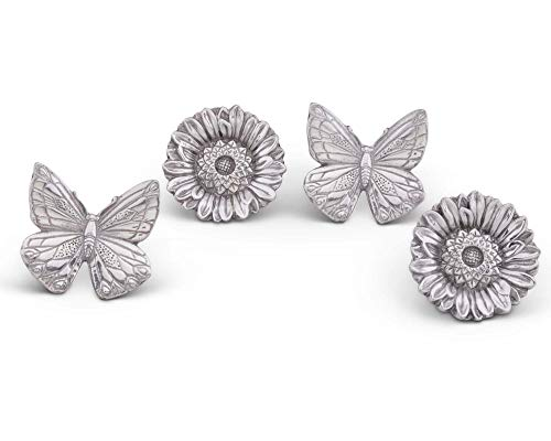 (Arthur Court Aluminum Butterflies and Flowers Napkin Ring Set of 4; Pair of Butterflies and Pair of Flowers; 3