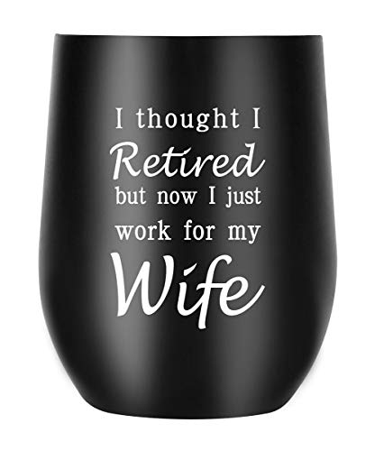 Retirement Gifts for Men Funny Engraved Travel Mug,Happy Retirement Decorations (Happy Retirement)]()