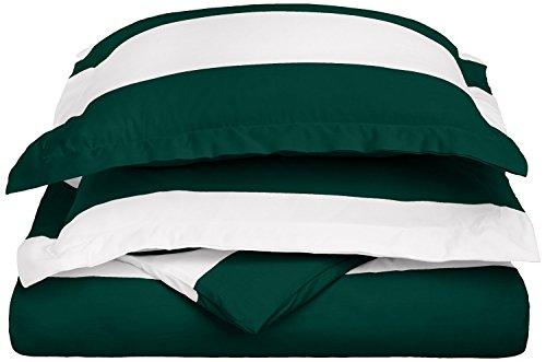(Superior Cabana 600-Thread Duvet Cover Set, Cotton Rich, Full/Queen, Hunter Green)