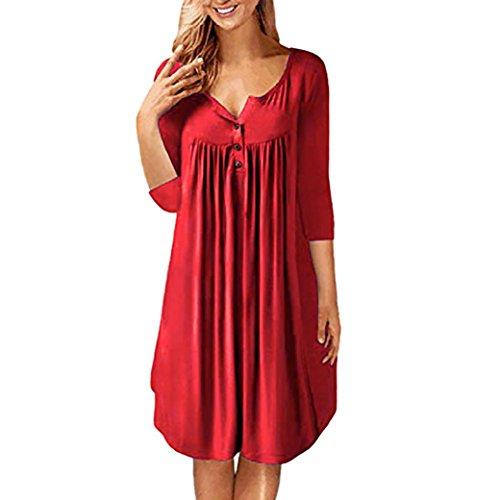iTLOTL Women Solid Row Pleats Button Ruched Three Quatter Sleeve Mini Dress(US:10/CN:L, Red)