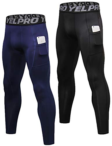 49670dd782d8a Lavento Men's Compression Pants Baselayer Cool Dry Pocket Running Ankle  Leggings Active Tights (2 Pack-3911 Black/Navy Blue,Small)