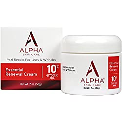 Alpha Skin Care Essential Renewal Cream with 10% Glycolic AHA, fragrance-free and paraben-free, 2 Ounce (Packaging May Vary)