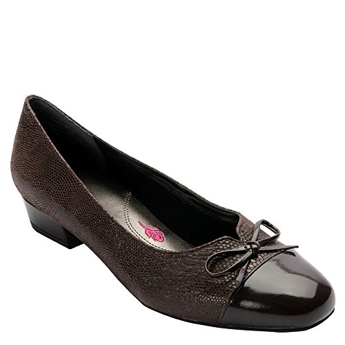 Brown Lizard Print Leather - Ros Hommerson 74019 Tawnie Shoe, Brown Lizard Print/Patent - 6 W