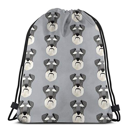 Schnauzer Head Dog Head Dogs Pets Pet_16226 Custom Drawstring Shoulder Bags Gym Bag Travel Backpack Lightweight Gym for Man Women 16.9