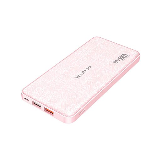 Yoobao Portable Charger 12000mAh Ultra Slim Power Bank Q12 Qualcomm Quick Charge 3.0 External Battery Pack Fast Charge Powerbank Compatible Samsung S8/S8+ iPhone X/8/8+ Huawei Google LG and More-Pink (Bank Rapid Charger)