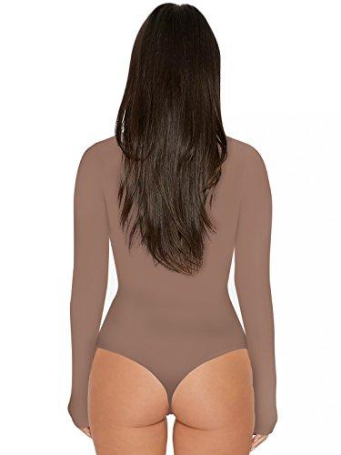 Couleur Haut Leotard Rompers Onlyoustyle Moulant Femme Casual Top Fashion Unie de Haut Combishorts Bodysuit Longues Justaucorps Col Abricot Manches Jumpsuits 4Cq5Pw