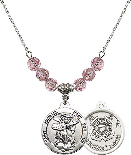 - Bonyak Jewelry 18 Inch Rhodium Plated Necklace w/ 6mm Light Rose Pink October Birth Month Stone Beads and Saint Michael/Coast Guard Charm