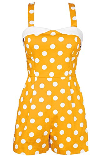 Sidecca Women's 1950's Vintage Inspired Polka Dot Pinup Tank Romper (Medium, Mustard & White (Polka Dot))