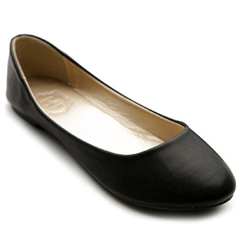 Ollio Women's Shoe Ballet Basic Light Comfort Low Heel Flat M1009 (8 B(M) US, Black)
