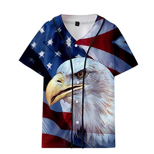 (NEARTIME Men's&Womens Loose Shirts Summer USA Flag Printed Short Baseball Uniform Jacket Couple Casual Blouse)