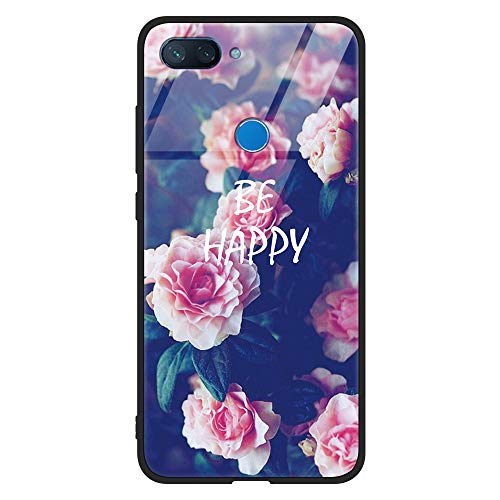 Eouine Xiaomi Mi 8 Lite Case, [Anti-Scratch] Shockproof Patterned Tempered Glass Back Cover Case with Soft Silicone Bumper for Xiaomi Mi 8 Lite Smartphone (Flowers)