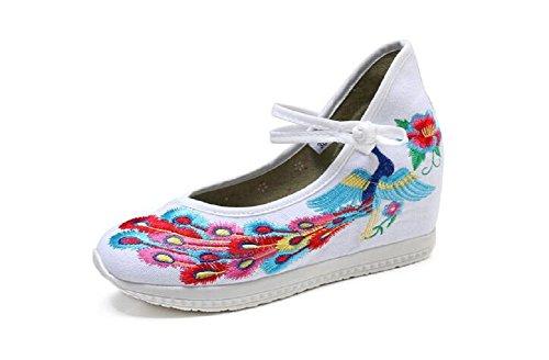 Lazutom - Sandalias de vestir de Lona para mujer blanco